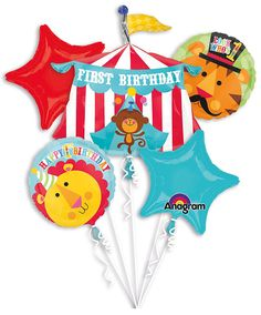 Amazon.com: Fisher Price Circus 1st Birthday Balloon Bouquet Set Lion Tiger Party Supplies: Toys & Games