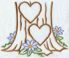 Hearts carved into trees | Two hearts carved into a tree trunk machine embroidery ... | Embroide ...