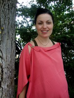 {could DIY a scarf-style like this}   nursing COVER  breastfeeding scarf cover coral pink red. €30.00, via Etsy.