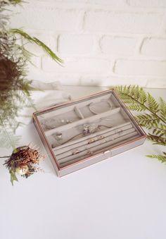 NEW  Boîte à bijoux en verre  Métal  Géométrique  Cuivre
