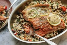 Pan-Seared Salmon with Israeli Couscous