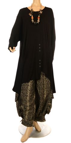 Escalayda Funky Black Button Strip Tunic-