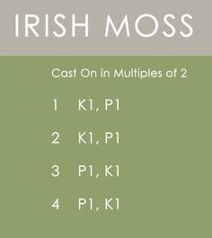 Irish Moss Stitch Knitting Pattern Instructions by Kristen McDonnell of Studio Knit