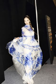 Valentino. Porcelain or Gzhel. Russian blue floral pattern on white ceramic. Folk. Braid. Love Russian culture. Russian girls. Long dress. Fashion. Collection 2015