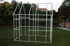 PVC pipe frame for an outdoor playhouse . . . the cover can be easily made by sewing sheets together