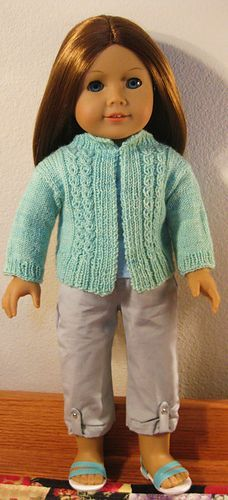"""Mock Cable Cardi for Amelia ~ free Ravelry download Fits American Girl and most 18"""" dolls"""