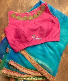 Shaded blue saree with pink embroidery blouse from Yoshnas By Ela.They can customize the size and colour as per your requirement.To order please reach on 7550227897 / 044 14 October 2017 Blouse Back Neck Designs, Hand Work Blouse Design, Simple Blouse Designs, Stylish Blouse Design, Saree Blouse Patterns, Saree Blouse Designs, Jute, Stylish Sarees, Chiffon