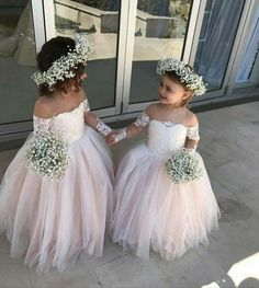 Pretty Off Shoulder Long Sleeve Tulle Flower Girl Dresses - Not the dress, the crown for Ines Girls Dresses Uk, Cute Flower Girl Dresses, Tulle Flower Girl, Tulle Flowers, Wedding Flowers, Tulle Lace, Lace Dress, White Tulle, Dresses Dresses