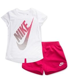 Nike Graphic-Print T-Shirt & Shorts Set, Toddler Girls - Pink Toddler Nike Outfits, Baby Outfits, Cute Little Girls Outfits, Soccer Outfits, Kids Outfits Girls, Sporty Outfits, Athletic Outfits, T Shirt Nike, T Shirt And Shorts