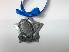 Silver Colored Football Star Christmas Ornament by GiftWorks. FREE SHIPPING, CLICK NOW TO BUY, $8.95