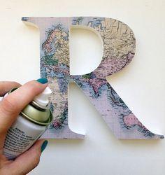Mapismo para decorar: faça o DIY de uma letra caixa Atlas http://followthecolours.com.br/follow-decora/mapismo-para-decorar-faca-o-diy-de-uma-letra-caixa-atlas/