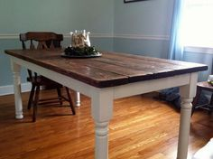 build vintage dining room table. The legs are for deck but cut to size