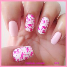 Emma Richards saw this and thought of you. Flamingo nail art using moyou London tropical 06