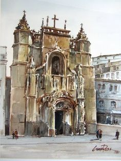 Cunha Rocha - Aguarela - Igreja se Sta Cruz -Coimbra Portugal, Andrew Wyeth, Shelters, Painters, Home Art, Barcelona Cathedral, Norway, Buildings, Landscapes