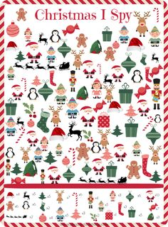 Free printable Christmas I Spy Game - a holiday themed search and find Repinned by SOS Inc. Resources http://pinterest.com/sostherapy.
