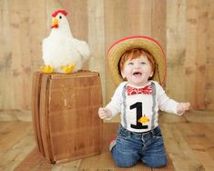 Farm Birthday Outfit for Boys, 1st Birthday Farm Chicken Cake Smash outfit with suspenders and bow tie