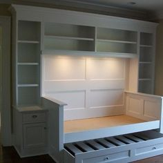 space saving design- built in bed with bookcase