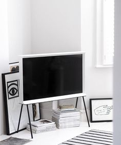 Samsung's serif TV designed by the Bouroullec brothers - simple contemporary design that fits into the look and feel of the home instead of being at odds with its surroundings - minimal design - Scandinavian interiors