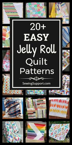 Easy Jelly Roll Quilt Patterns Free Quilt Patterns for Jelly Roll Quilts. easy jelly roll quilt patterns, tutorials, and diy sewing projects easy enough for a beginner to sew. Designs include easy strip, square, and race quilts. Strip Quilt Patterns, Jelly Roll Quilt Patterns, Strip Quilts, Easy Quilts, Quilting Patterns, Quilting Ideas, Baby Sewing Projects, Sewing Projects For Beginners, Quilting Projects
