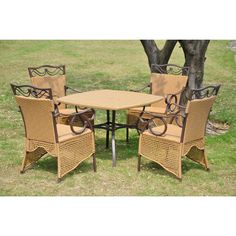 International Caravan Valencia 5 Piece Resin Wicker Steel Skirted Dining Set Matte Brown