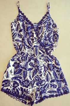 Blue and White Cashew Floral Print Beach Romper for Maui