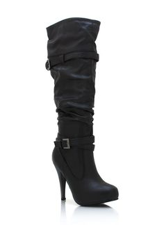 buckled high heel boots