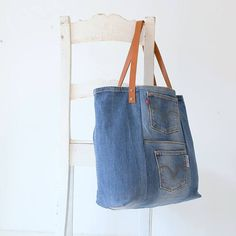 Denim bag Levi's with with leather straps denim tote bag
