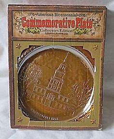 1976 Commemorative Plate American Eagle Carnival Glass
