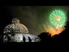 fireworks over Sefton Park Palm House, Liverpool.