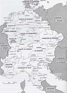 Map: Holy Roman Empire 900s - 1000s. For history reference.