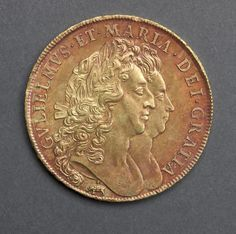 Five Guineas (obverse), 1691 England, William and Mary, 1688-1694  gold - Organize in #KlaserApp