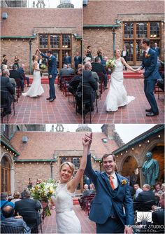 dancing wedding processional at best place, pabst brewery | captain's courtyard outdoor ceremony, milwaukee | Reminisce Studio by Miranda & Adam | Milwaukee Wedding Photographer