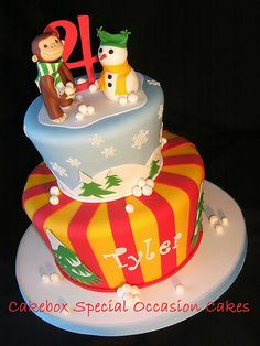 Curious George in the Snow birthday cake