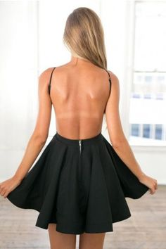 Black Skater Mini w/ Open Back Dress | USTrendy