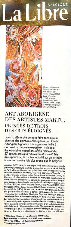 Libre Belgique : Art Aborig?ne des artistes Martu, Princes de trois d?serts ?loign?s http://www.aboriginalsignature.com/press/2018/1/24/libre-belgique-art-aborigne-des-artistes-martu-princes-de-trois-dserts-loigns