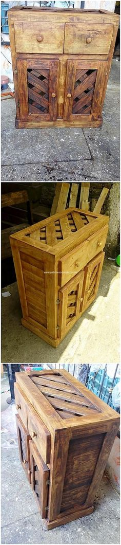 Check out this alluring taste of the wood pallet cabinet that is so stylish and unique looking. It has been carried out with the simple form of the designing that is rough and artistic in the texture impact working mode. It is incorporated with the two divisions of the cabinet set up in it.