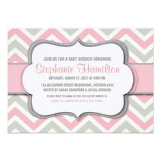 Baby girl shower colorful chevron announcement