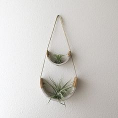 2 Tier Hanging Air Plant Holder – Speckle Stoneware Planter Dipped in Gloss White - All For Herbs And Plants