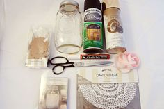 Supplies for gold painted, lace wrapped mason jars