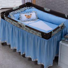 Kit Para Berço Desmontável Ursinho Luxo Azul 9 Peças 100% algodão Baby Shark, Baby Sewing, Bassinet, Toddler Bed, Nursery, Furniture, Home Decor, Instagram, Parenting Hacks