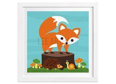 243 Fox Art Print  Fox with Hedgehog and Snail Wall by leearthaus