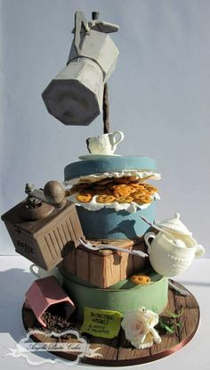 Coffee/teatime has gone crazy on this cake that throws in everything but the kitchen sink whilst doing a very clever balancing act with some of the elements.                                                                                                                                                      More