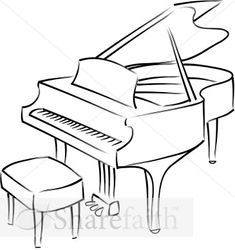 Grand Piano Line Drawing - could work for a tattoo!