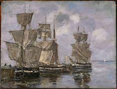 Boudin, Eugène, Navires dans le Port à Honfleur, 1856