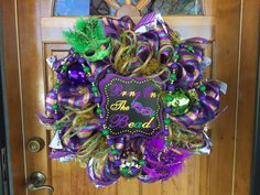 Mardi Gras deco mesh wreath by DarasDecoDecor on Etsy