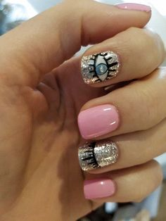 Nail Design Makes Your Nails Thin,It Turns Out That This Is Not Your Illusion - Page 11 of 21 - Dazhimen Manicure, Gelish Nails, Love Nails, Fun Nails, Evil Eye Nails, Romantic Nails, Trendy Nail Art, Fabulous Nails, Short Nails