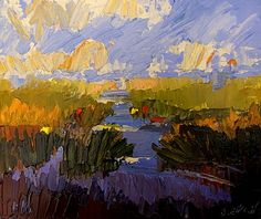 Landscape Echoes 3 - © 2008 Jan Blencowe - abstract expressionist painting landscape marsh water river autumn colorful Painting