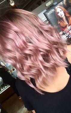 Formula: 40g 10N, 40g Liquid, 1g Light R/V (deep), 1g Violet pure pigment. Process 20 minutes. You can make it a demi or permanent! #aveda #avedacolor #avedacolorformula #pink #rosegold #dustyrose #pastelpink