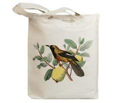 Retro Bird on Fruit Vintage Eco Friendly Canvas Tote by idiopix