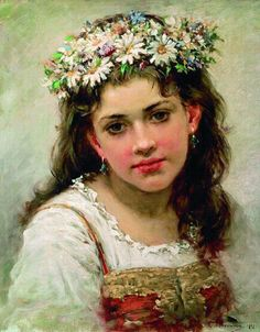 Konstantin Makovsky, - Portrait of a Young Girl